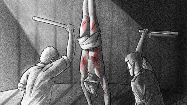 Illustration einer in iranischen Gefängnissen verwendeten Foltermethode nach den Protesten im November 2019